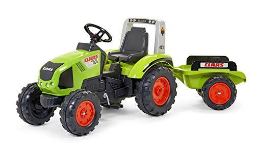 FALK - Tracteur à pédales Claas avec remorque - Dès 3 ans - Fabriqué en France - volant directionnel avec...