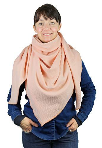 XXL Musselin Tuch Schal 100% feine Baumwolle 130x130 cm Damenhalstuch Halstuch Musselintuch Musselin Damen Herren Männer Frauen Farbe Lachs