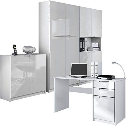 Vladon Büromöbel Arbeitszimmer komplett Set Logan, Korpus in Weiß matt/Fronten in Weiß Hochglanz