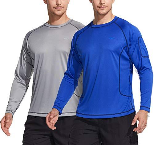 TSLA Camiseta de natación para hombre, UPF 50+, camiseta de manga larga holgada, secado rápido, Cool Running Workout SPF/UV, Hombre, Mss23 - Pack de 2 unidades, color gris claro y azul, medium