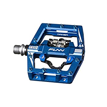 Funn Mamba S Mountain Bike Clipless Pedal Set - Single Side Clip Compact Platform MTB Pedals SPD Compatible 9/16-inch CrMo Axle  Blue