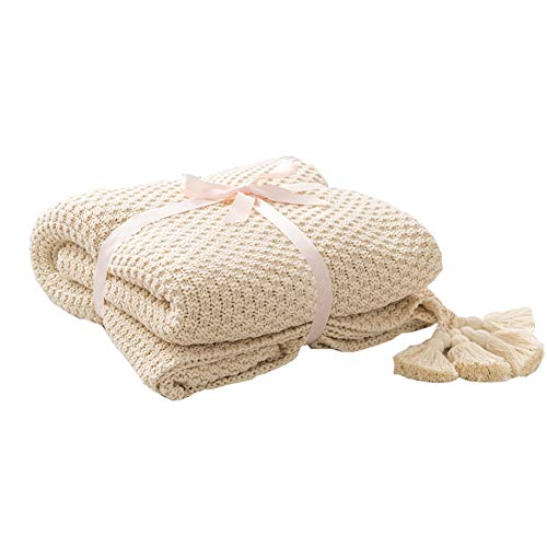 LakeMono Cotton Cable Throw Blanket Super Soft Knitted Crochet Couch Cover Blanket All Seasons (Beige,52''x 67'')