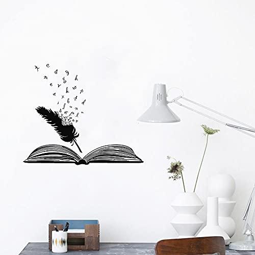 Libro abierto y plumas calcomanías de pared de vinilo aprender estudio dormitorio decoración del hogar arte pegatinas de pared Mural A8 50x42cm