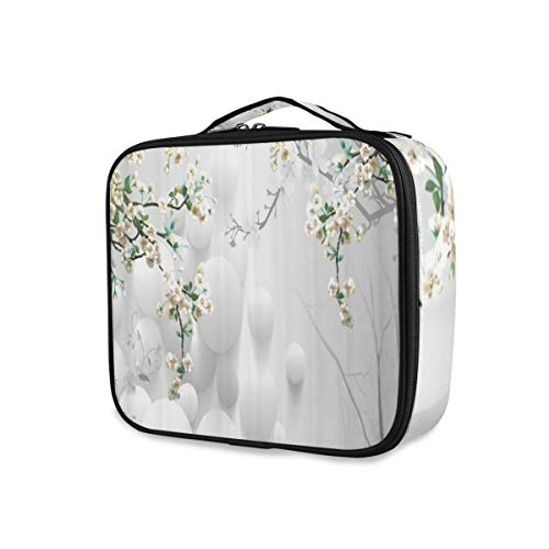 SUGARHE Hintergrund Flower Art Decoration Peach Blossom Plum Trees 3D,Kosmetik Reise Kulturbeutel...