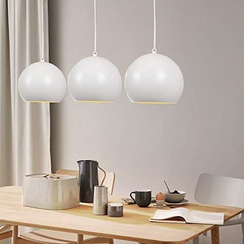 Lampara colgante ZMH mesa de comedor lampara colgante de aluminio blanca 3 x LED Lampara colgante E27 para comedor/sala de estar/oficina/iluminacion de cafe NO incluida