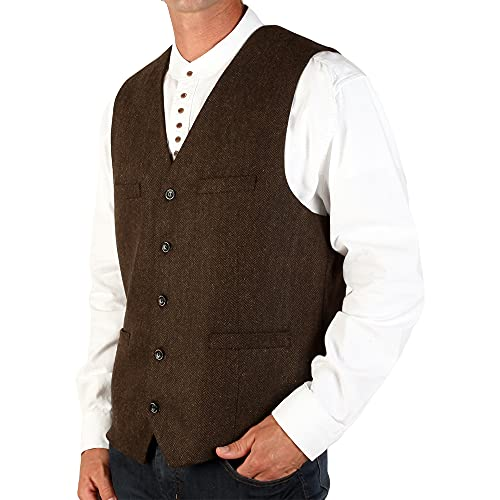 The Celtic Ranch Men's Blended-Wool Irish Tweed Vest with Full Back, Fabric Belt, 4 Pockets, and Herringbone Pattern (Brown, 2X-Large)