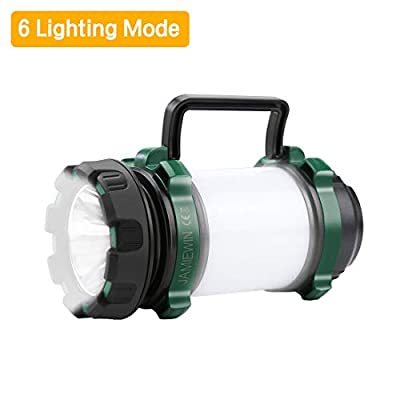 JAMIEWIN Led Camping Lantern Rechargeable, Super Bright Lantern Flashlight with 6 Modes, 4000mAh Power Bank, Two Way Hook of Hanging, IPX5 Waterproof, Perfect for Camping, Hiking, Outdoor Exploration