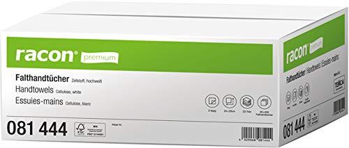 racon® Papierhandtuch, Premium, Zellstoff, 2lagig, Zickzackfalzung, 20 x 200 Tücher, 24 x 23 cm, hochweiß (4.000 Stück), Sie erhalten 1 Karton á 4000 Stück