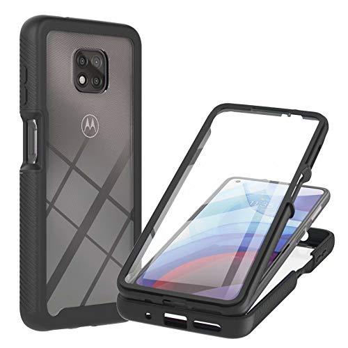 Molg Compatible con Funda Motorola Moto G Power 2021 Incorporado Pet Screen Protector Transparent Back Shell 360 ° de Cuerpo Entero Anti-Scratch Anti-Shock Shell-Negro