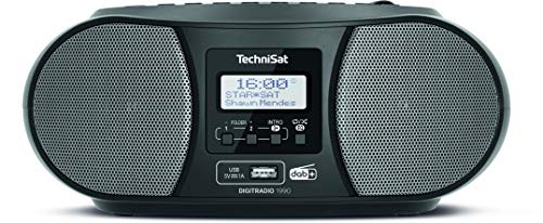 TechniSat DIGITRADIO 1990 - Stereo-Boombox mit DAB+/UKW-Radio und CD-Player (Bluetooth-Audiostreaming, Kopfhöreranschluss, USB, AUX in, Ladefunktion, Uhr, 2 x 1,5 Watt Ausgangsleistung) schwarz