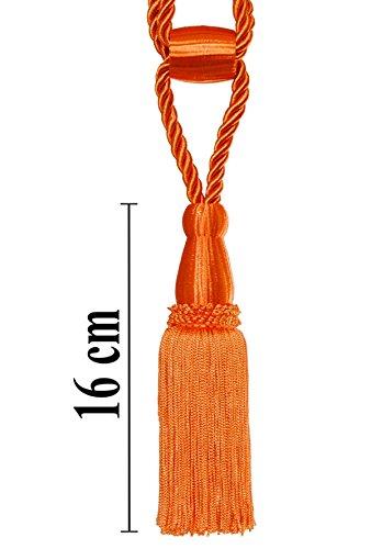Mosel Avenue Art & Gobelin Studio Raffhalter 50cm Quaste 16 cm mit Kordel Farbe Orange Schmuckquaste Gardinenhalter Quaste Halter für Gardinen Barock Jugendstil