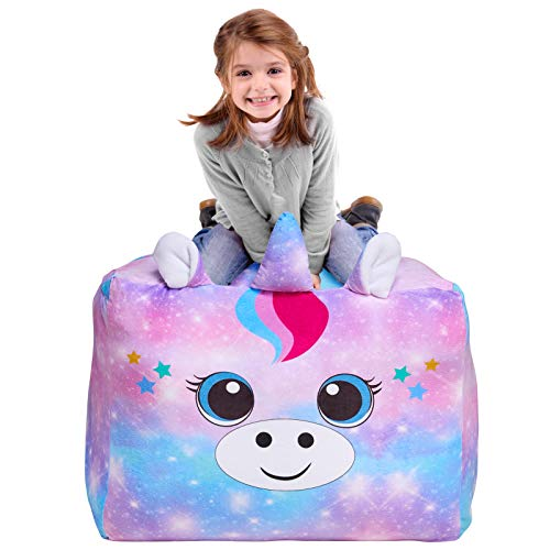 MHJY Unicorn Bean Bag Stuffed Animal Storage Beanbag Chair Cover for Kids Plush Toys Blankets Storage Bag (No Beans)