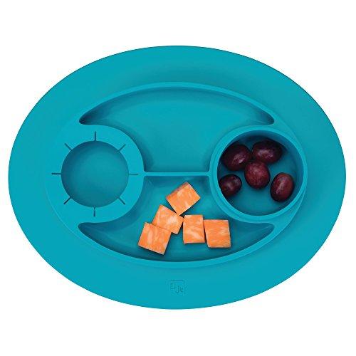 InterDesign IDjr Plato para niños, vajilla infantil antideslizante y de silicona con portavasos, turquesa