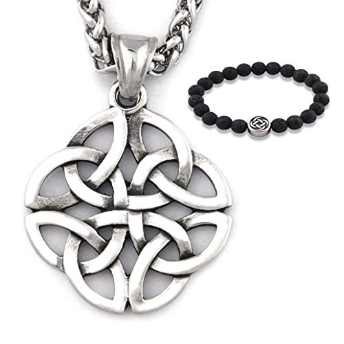 Gungneer Stainless Steel Silvertone Irish Celtic Knot Pendant Eternal Love Necklace Protection Amulet Talisman