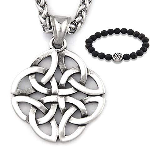 Gungneer Stainless Steel Silvertone Irish Celtic Knot Pendant Eternal Love Necklace Protection Amulet Talisman