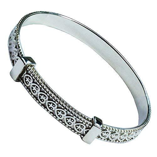 Beautiful Jewellery Company Sólido Plata de Ley Childens Bebé Bautizo Pulsera/Brazalete Expansible con Corazones