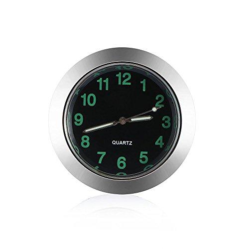 FORNORM Auto Quartz Uhr, Quartz Uhrwerke KFZ Uhr Analog mit Schwarzes Zifferblatt Schwarz Schale Batterie Einbauuhr für Auto, 4.3cm/1.7