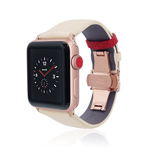 fitjewels for Apple Watch Band 38/42mm - Stingray - White/Red - Rose Gold Adapter Clasp- Leather iwatch Strap Replacement Band with Butterfly Clasp for Apple Watch Series 5 Series 4 Series 3/2/1