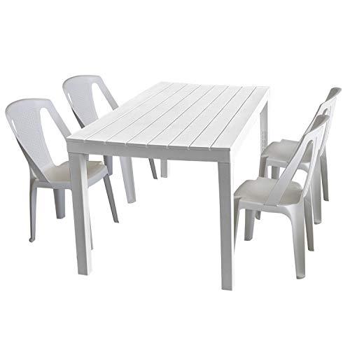 PROGARDEN - Set tavolo da giardino Sumatra, effetto legno, plastica, 138 x 78 cm + 4 sedie impilabili Procida, plastica, bianco