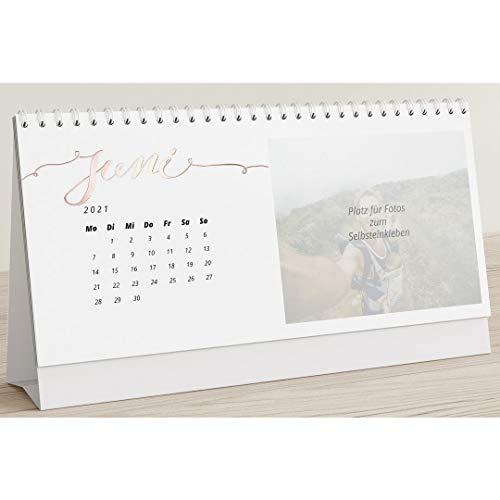 Kalender zum Selbstgestalten 2021 mit Veredelung in Roségold, Unsere Momente, Bastelkalender zum Aufstellen und Einkleben Gedruckter Fotos, Querformat 260x120,