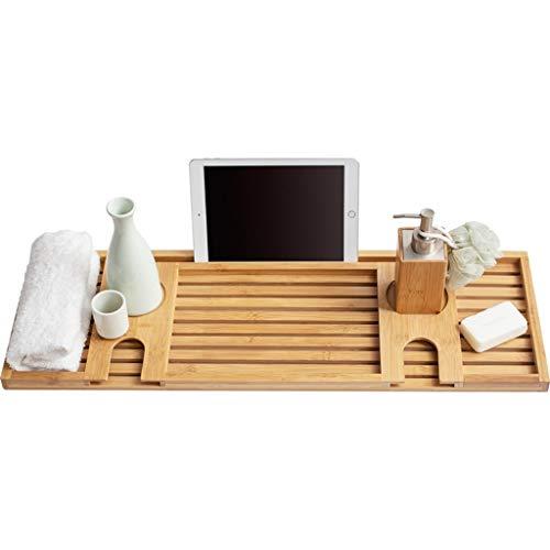 LWF Bandeja de bañera Caddie bambú Multifuncional bañera con la Toalla iPad Teléfono Copa de Vino Titular de la bañera de hidromasaje Plataforma de baño