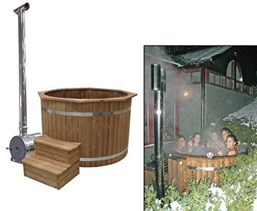 bambus-discount.com Bade Fass Set2 Standard mit Holzofen, Durch. 150cm - für Holzbadefass Badefässer Badefass für draussen Badetonne Hot Tubs...