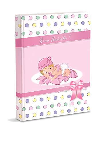 Album fotografico, 23x30 rosa nascita bambina con diario