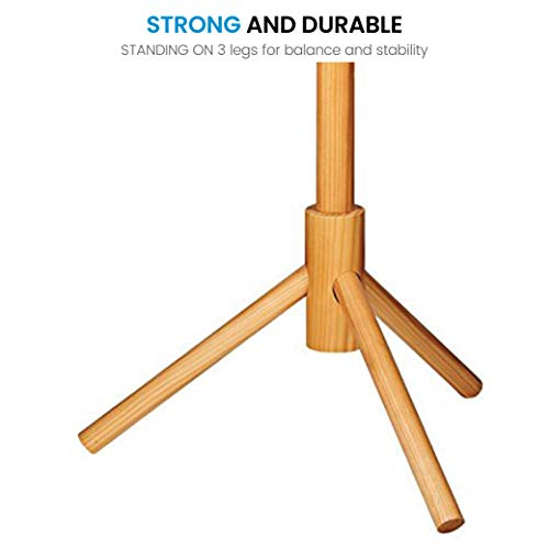High-Grade Wooden Tree Coat Rack Stand, 6 Hooks - Super Easy Assembly NO Tools Required - 3 Adjustable Sizes Free Standing Coat Rack, Hallway/Entryway Coat Hanger Stand for Clothes, Suits, Accessories