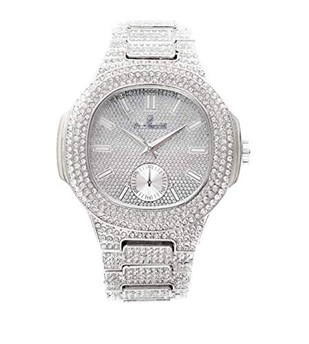 Bust Down AP Watch. Iced Out CZ Diamonds Gold Color Silver AP Hip Hop Watch Jewelry. Rapper Bling Rollie Skelton (Silver)