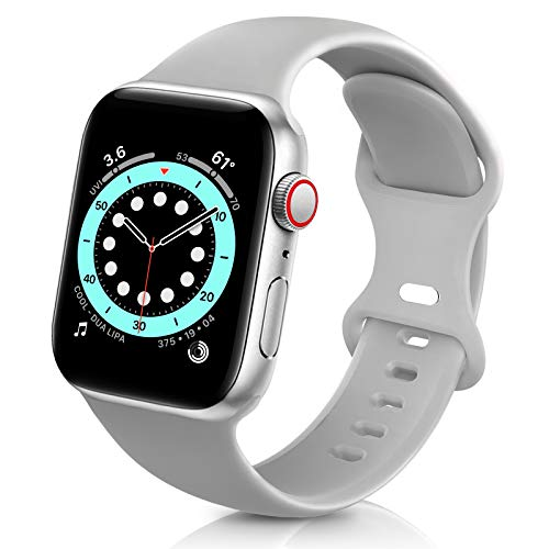 ZALAVER Bands Compatible with Apple Watch Band 38mm 40mm, Soft Silicone Sport Replacement Band Compatible with iWatch Series 6 5 4 3 2 1 Women Men Gray 38mm/40mm M/L