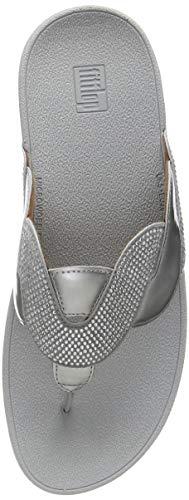 Fitflop Paisley Glitter Rope Toe-Thongs, Sandalias Planas para Mujer, Plata, 38 EU