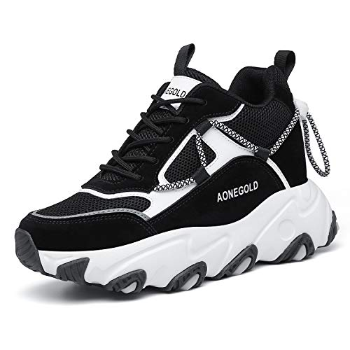 AONEGOLD Zapatos de Deporte Mujer Zapatillas de Cuña Zapatillas de Deporte Casuales Damas al Aire Libre Transpirable Plataforma Zapatos(Negro,Tamaño 37)