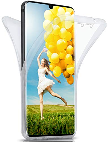MoEx® Beidseitige Silikonhülle [Vorder + Rückseite] passend für Huawei P30 Pro | 360 Grad Cover mit Komplett-Schutz - durchsichtig, Transparent