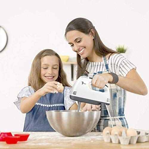 ALWAFLI White 300-Watt Beater Blender for Cake Baking Electric Hand Mixer High Speeds Roasting Appliances Cream 7 Speed Mixer Kitchen Baking Tools Free Spatula and Oil Brush