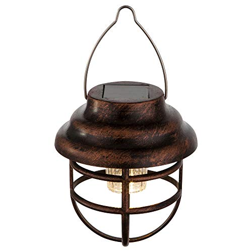 LED Solar Außen Pendel Decken Lampe Retro Käfig Laterne Garten Terrassen Hänge Leuchte