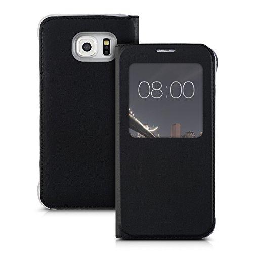 kwmobile Funda Compatible con Samsung Galaxy S6 Edge - Carcasa de Cuero sintético con Ventana - En Negro
