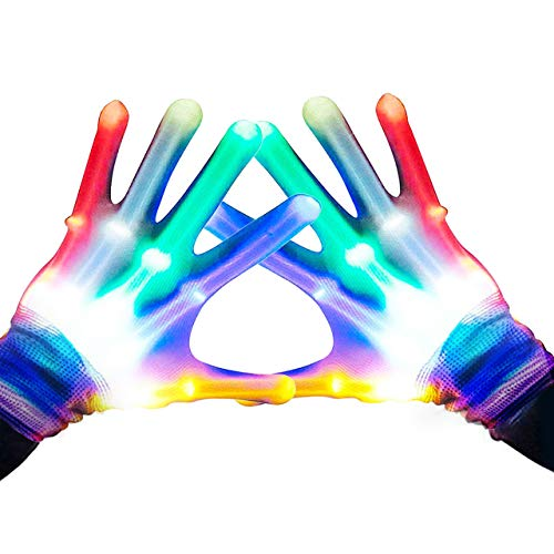 Gifts for Teen Girls, TOPTOY Flashing LED Gloves Gift Ideas for Teen Boys Girls Autism Cool Toys for 13-19 Years Old Boys Girls Christmas Xmas Stocking Stuffers Stocking Fillers Halloween TTS002