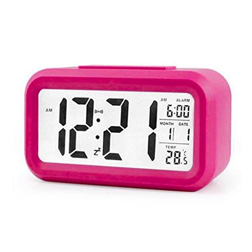 BUIDI Digitaler Wecker Hintergrundbeleuchtung LED-Anzeigetabelle Uhrzeit Temperaturkalender Wecker Pink