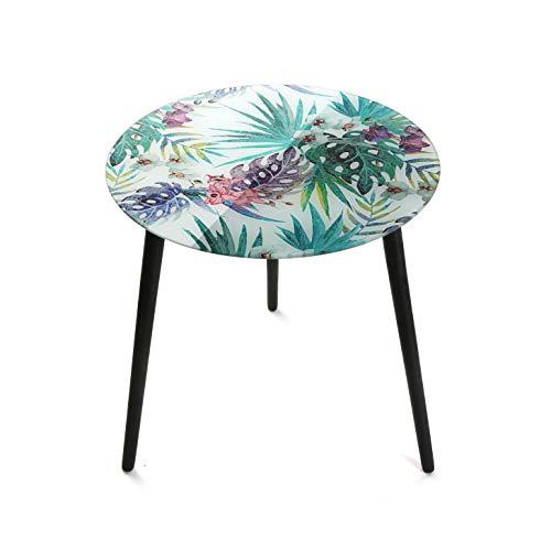 Versa 20231230 Mesa Auxiliar Tropical, Cristal, Multicolor, 50 x 50 x 50 cm