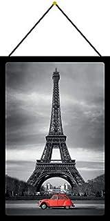 Blechschild 20x30cm gewölbt mit Kordel Citroen Ente 2CV Rot Eifelturm Paris Auto Deko Geschenk Schild Tin Sign