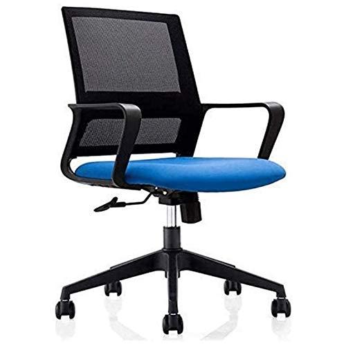 ZXN RTU Relax - Sillas de escritorio para casa, oficina, videojuegos, silla de oficina con reposabrazos fijos, moderno y minimalista, tela giratoria, asiento largo, cómodo ordenador Chai