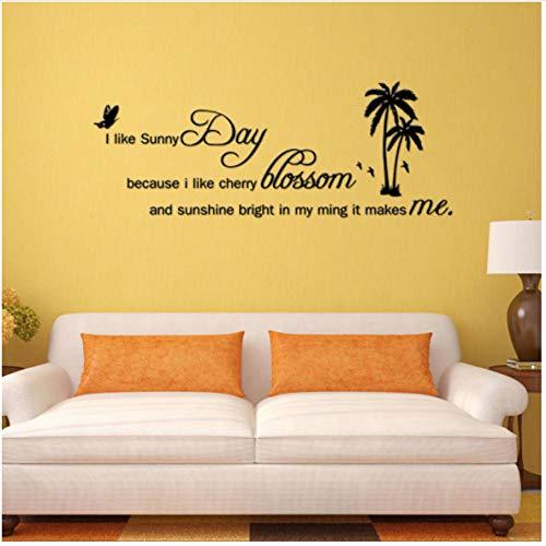 Ik hou van zonnige dag zon wolk bij vliegen gelukkig slaapkamer woonkamer decoratie verwijderbare PVC muursticker 87x33cm