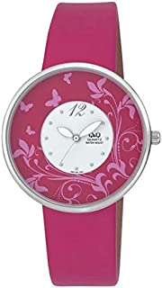 Q&Q Women's Pink Dial Leather Band Watch - Q847J311Y