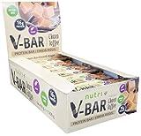 PROTEINRIEGEL VEGAN ohne Zucker-Zusatz 24er Box - Schokolade Karamell - High Protein Bar 50g - veganer Low-Carb Eiweiß-Riegel V-BAR Chocolate Toffee Geschmack - nur 155 Kalorien