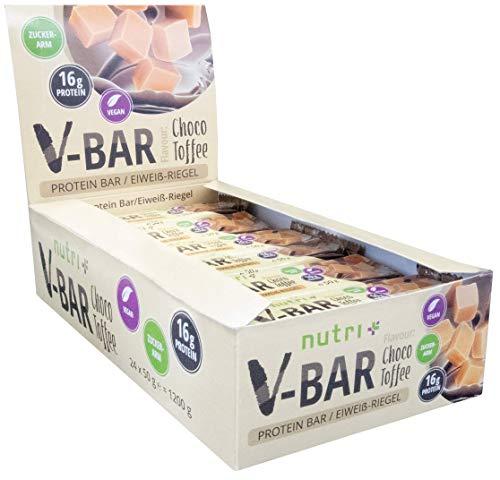 PROTEINENBAR VEGAN 24er Box - High Protein Bar 50g - LowCarb Bar V-BAR - Choco Toffee Taste - slechts 155 calorieën - 16 g eiwit - veganistische eiwitreep zonder toegevoegde suiker