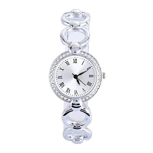1pc Frauen-Uhr-Analog-Quarz-Bewegungs-Armbanduhr mit Alloy Armband Kristall Akzenten Kette Uhren mit Knopf-Batterie (Silber)