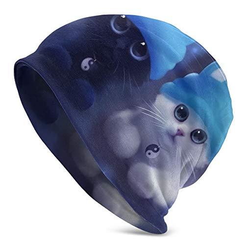 Gorro de Lana para Hombre de Dos Gatos en Color Azul, cálido, Holgado, Suave, cómodo Durante Todo el año, Estilo Serio, Gorra de Calavera Delgada, Gorra de Punto Grande