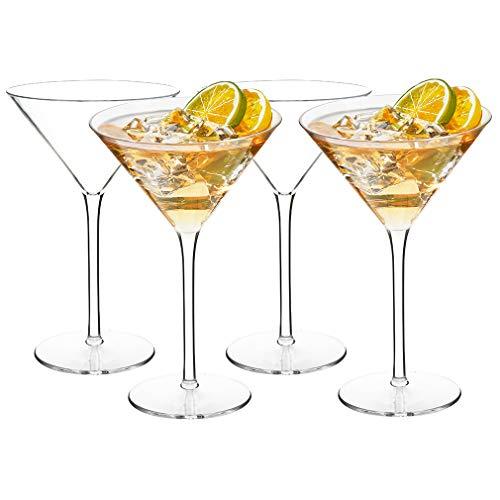 MICHLEY Juego de Vasos de Martini de cóctel irrompibles de plástico Tritan, Aptos para lavavajillas y sin BPA, 260 ml, Juego de 4
