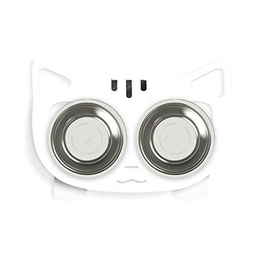 Tazón Perro Gato Reduce La Presión Cervical Cat Bowl Suministros para Mascotas Alien Cute Cat Bowl Caja De Comida para Gatos Doble Plato Fijo Acero Inoxidable