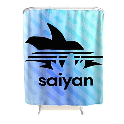 Born for-Anime Duschvorhang Personalisiert Saiyan Muster Theme Wasserdicht - Black Badewannenvorhang Blumen für Badezimmer White 120x200cm